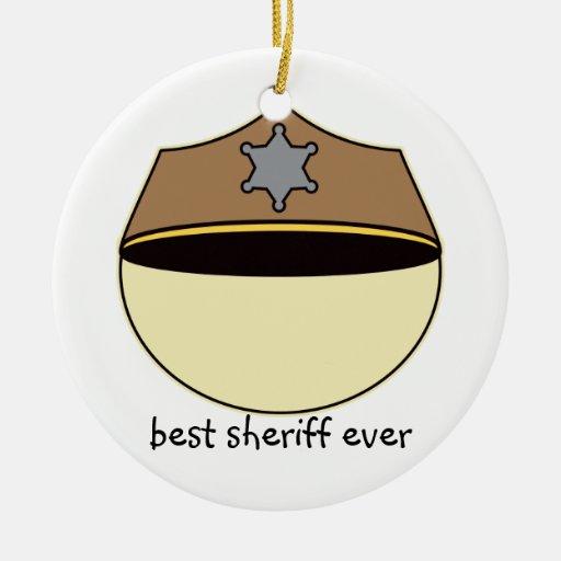 Custom Best Sheriff Ever Christmas Ornaments