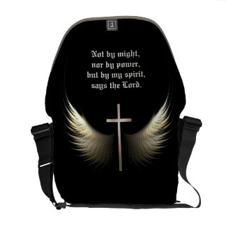Custom Bible Verse with Cross and Wings Religious Messenger Bags