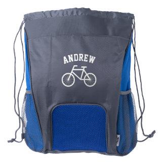 Custom bicycle drawstring backpack for biking