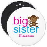 Custom Big Sister Monkey Buttons 6 Inch Round Button