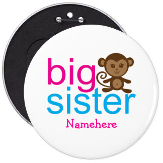 Custom Big Sister Monkey Buttons