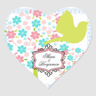 Custom Bird and Blossoming Trees Heart Stickers