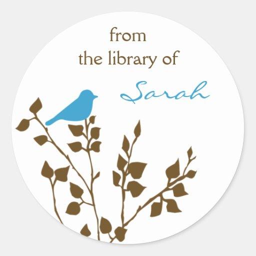 Custom Bird Bookplate Stickers in Blue