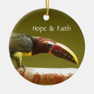 Custom bird green aracari toucan ceramic ornament