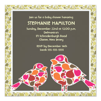 Custom bird pattern baby shower card