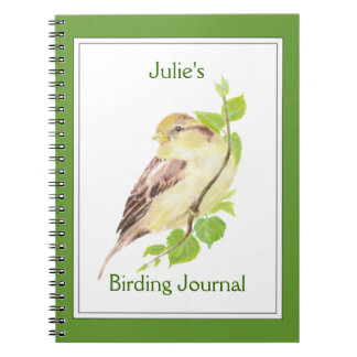 Custom,Birder Journal with Watercolor Sparrow
