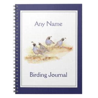 Custom Birding Journal Watercolor California Quail Spiral Note Book