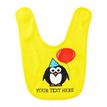 Custom Birthday baby bib with funny animal penguin