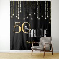 Custom Birthday Black Gold Photo Booth Backdrop