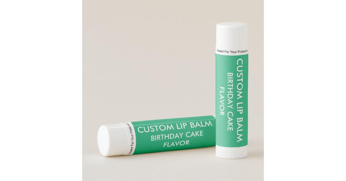 Custom BIRTHDAY CAKE FLAVOR Lip Balm JADE GREEN