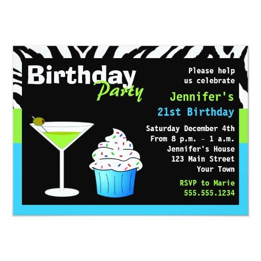 Custom Birthday Cocktail Party Green & Blue Zebra 4.5x6.25 Paper Invitation Card