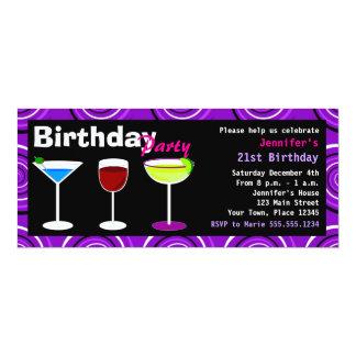 "Custom Birthday Cocktail Party Invite Purple Swirl 4"" X 9.25"" Invitation Card"