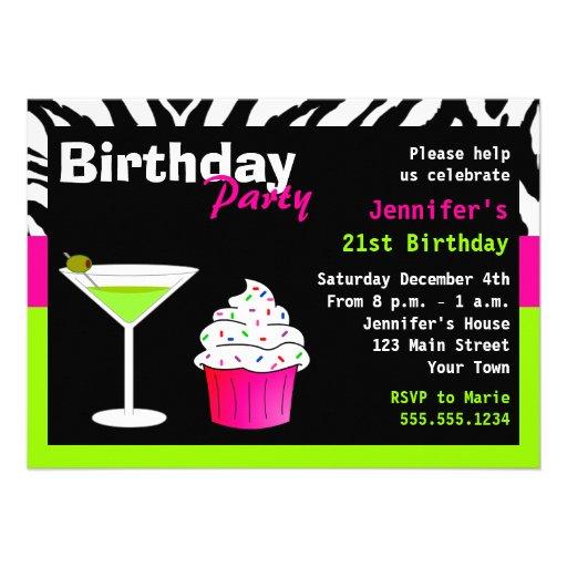 Custom Birthday Cocktail Party Lime Green Zebra Personalized Invite