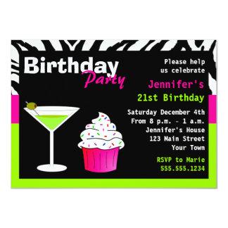"Custom Birthday Cocktail Party Lime Green Zebra 4.5"" X 6.25"" Invitation Card"