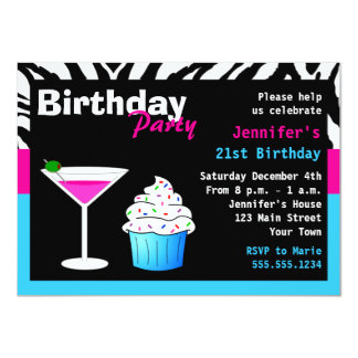 "Custom Birthday Cocktail Party Pink & Blue Zebra 4.5"" X 6.25"" Invitation Card"