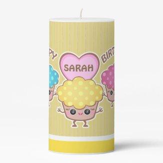 Custom Birthday Cupcake Pillar Candle