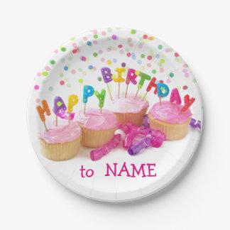 Custom Birthday Girl Paper Plates