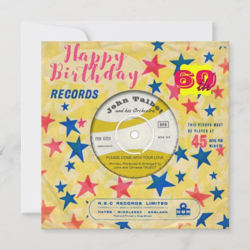 Custom Birthday Invite Retro Vinyl Record 45 RPM