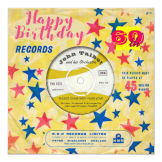 Vinyl record 60th birthday gifts on zazzle custom birthday invite retro vinyl record 45 rpm m4hsunfo