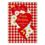 Custom Birthday On Valentine's Day Daisy Card