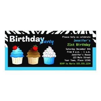 Custom Birthday Party Aqua Blue Zebra - Cupcakes Card