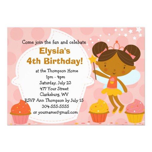 Custom Birthday Party - Faery Princess Cupcake Custom Invites