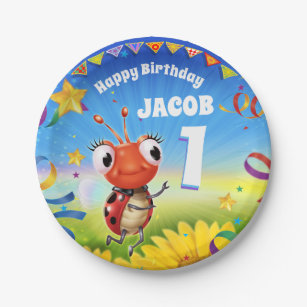 Custom Birthday Party Plate Boy 1yr Old