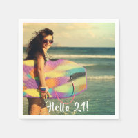 Custom birthday photo hello 21 napkin