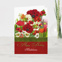 Custom Birthday Poppies with Lorikeet Parrot Card