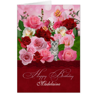 Custom Birthday Rose Garden & Tabby Cat Greeting Card