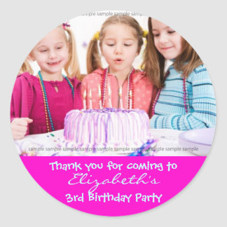 Custom Birthday sticker: My little girl's birthday Classic Round Sticker