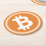 """Custom Bitcoin logo sign drink coasters<br><div class=""""desc"""">Custom Bitcoin logo sign drink coasters for beer and more. Fun geeky table decor for bar,  pub,  cafe,  home,  wedding,  party,  event,  mancave,  dorm. Big size coin,  money or currency. Disposable party supplies. Cryptocurrency icon.</div>"""