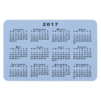 Custom Black 2017 Calendar on Light Blue Template Magnet