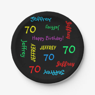 Custom Black 70th Birthday Party, Repeating Names Paper Plate