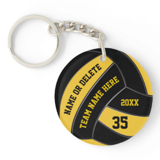 Custom Black and Gold Volleyball Gifts for Players Keychain