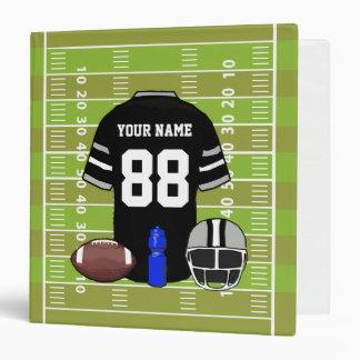 Custom Black and Gray Football Jersey on Field 3 Ring Binder