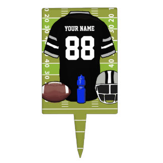 Custom Black and Gray Football Jersey on Field Cake Topper