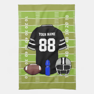 Custom Black and Gray Football Jersey on Field Kitchen Towel