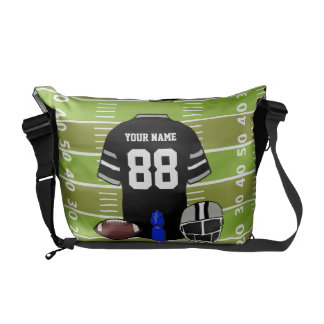 Custom Black and Gray Football Jersey on Field Courier Bag