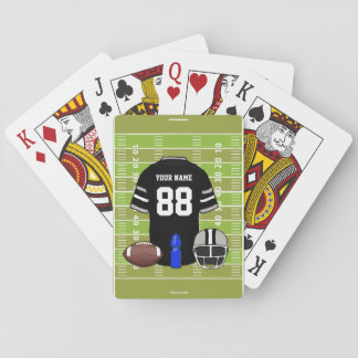Custom Black and Gray Football Jersey on Field Playing Cards
