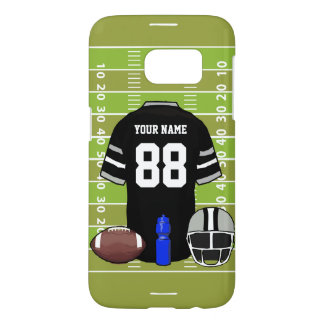 Custom Black and Gray Football Jersey on Field Samsung Galaxy S7 Case