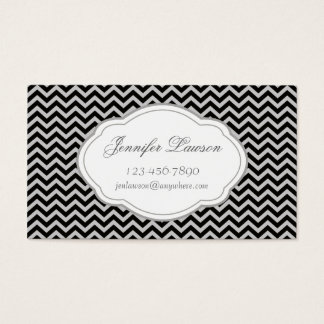 Custom Black and Gray Zigzag Business Cards