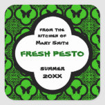 Custom Black and Green Butterfly Motif Square Sticker