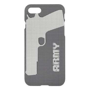 Beach Themed Custom Black and Grey Carbon Fiber Army Gun iPhone 7 Case