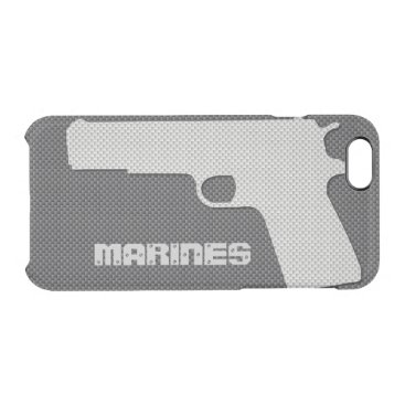 Beach Themed Custom Black and Grey Carbon Fiber Marines Gun Clear iPhone 6/6S Case