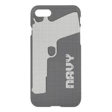 Beach Themed Custom Black and Grey Carbon Fiber Navy Gun iPhone 7 Case