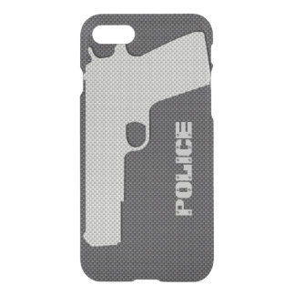 Custom Black and Grey Carbon Fiber Police Gun iPhone 7 Case