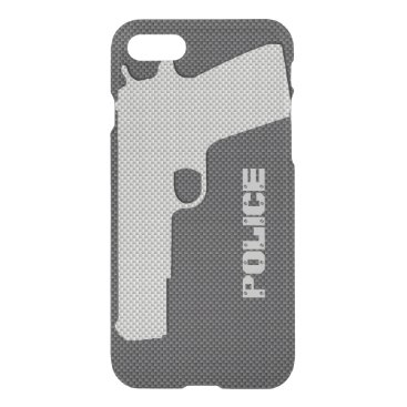 Beach Themed Custom Black and Grey Carbon Fiber Police Gun iPhone 7 Case