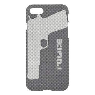 McTiffany Tiffany Aqua Custom Black and Grey Carbon Fiber Police Gun iPhone 8/7 Case