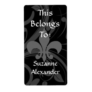Custom Black and Grey Fleur de lis Bookplate or Shipping Labels